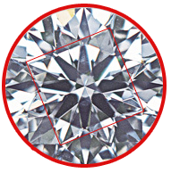 Brilliant diamond round cut showing table square for quality