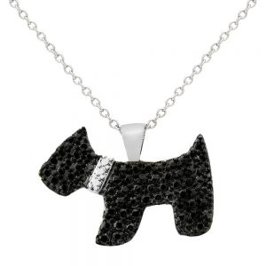 0.01 CT.T.W. Round-Cut Black Diamond Accent Prong Set Dog Silver Plated Pendant Necklace (18), Women's