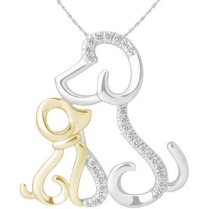 0.10 Carat T.W. Diamond Two-Tone 14kt Yellow Gold and Sterling Silver Mom and Child Dog Necklace (IJ I2-I3)