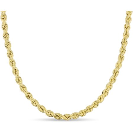 10kt Yellow Gold Men's Hollow Rope Chain, 22""