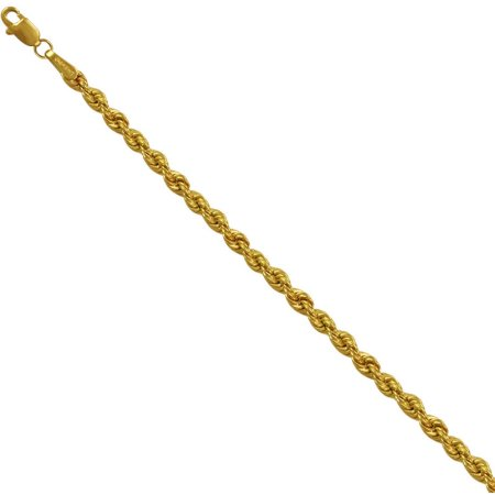 10kt Yellow Gold over Sterling Silver Rope Chain, 22""