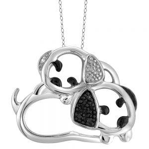 120 CT. T.W. Round-Cut Black and White Diamond Pave Set Dog Pendant - White (18), Girl's