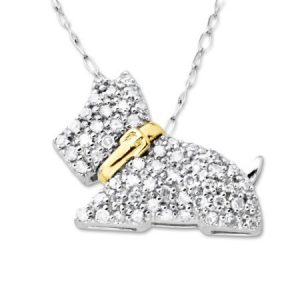 1/4 ct Diamond Scottie Dog Pendant Necklace in 10kt Two-Tone Gold