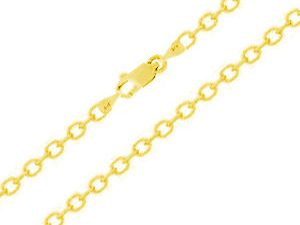 "14k Solid Gold Oval Cable Chain with Lobster Claw Clasp;1.7mm Thick- 18"" Inch's"