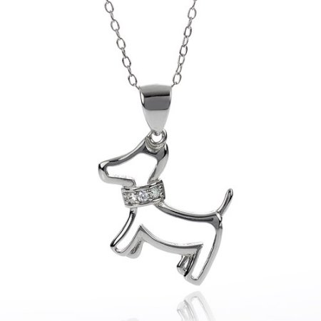 Alexandria Women's CZ Sterling Silver Dog Pendant, 18""