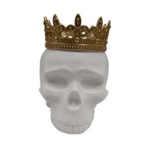 Artistically Unique Decorative Resin Skull With Crown, White And Gold