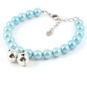 Blue Imitation Pearl Decor Lobster Clasp Pet Dog Poodle Cat Collar Necklace M