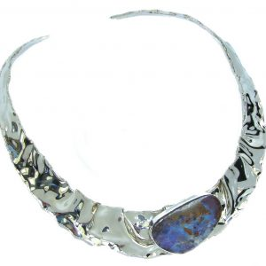 Bohemian Style AAA Boulder Opal Hammered Sterling Silver necklace / Choker