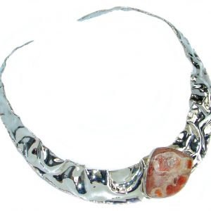 Bohemian Style Authentuc Mexican Opal Hammered .925 Sterling Silver necklace / Choker