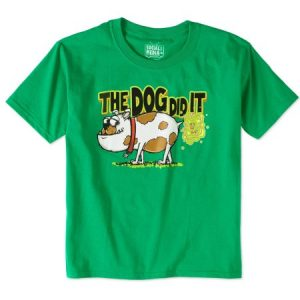 Boys' Humor Short Sleeve Dog Did It Kelly Green Graphic T-Shirt