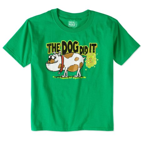 Boys' Humor Short Sleeve Dog Did It Kelly Green Graphic T-Shirt