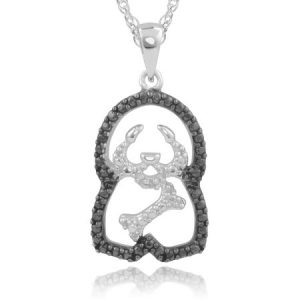Brinley Co. Women's 0.04 Carat T.W. Black Diamond Accent Sterling Silver Dog Pendant Fashion Necklace