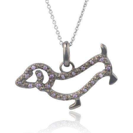 Brinley Co. Women's CZ Sterling Silver Dog Pendant Fashion Necklace, Gunmetal