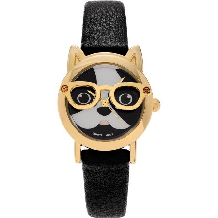 Brinley Co. Women's Faux Leather Dog Face Strap Fashion Watch, Gold/Black