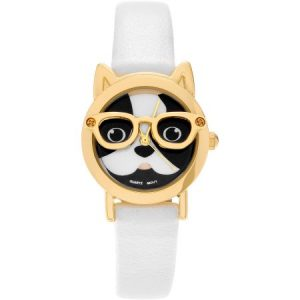 Brinley Co. Women's Faux Leather Dog Face Strap Fashion Watch, Gold/White