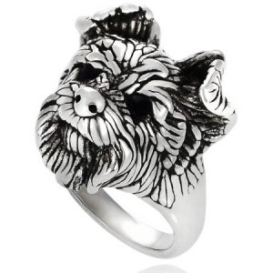 Brinley Co. Women's Sterling Silver Terrier Dog Face Fashion Ring