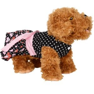 CUECUEPET Casual Indoor/Outdoor Button Up Dress for Female/Girl Dogs, Black with Polka Dot Hearts