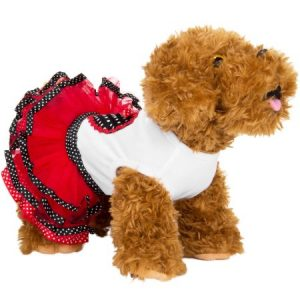 CUECUEPET Cotton Dog Dress, Minnie Red Polka Dots Design for Female/Girl Dogs