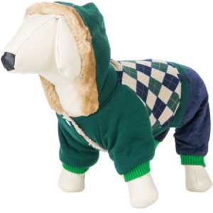 CUECUEPET Hoodie Cotton Jacket for Small to Medium Sized Dogs, Green/Blue Plaid