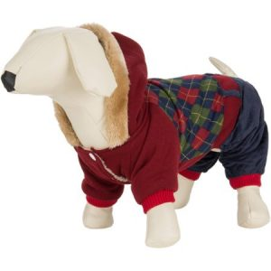 CUECUEPET Hoodie Cotton Jacket for Small to Medium Sized Dogs, Red/Green Plaid