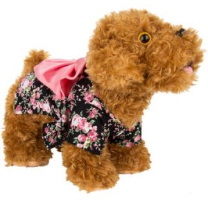 CUECUEPET Kimono Style Indoor/Outdoor Button Up Dress for Female/Girl Dogs, Black with Pink Floral Patterns