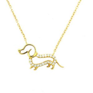 CZ 18kt Gold over Sterling Silver Outlined Dog Pendant, 18""