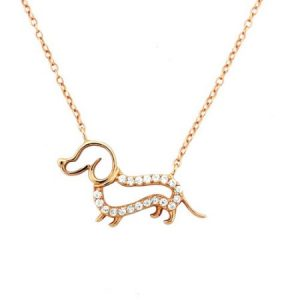 CZ 18kt Pink Gold over Sterling Silver Outlined Dog Pendant, 18""