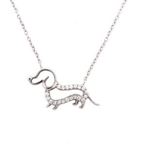 """CZ Sterling Silver Outlined Dog Pendant, 18"""""""