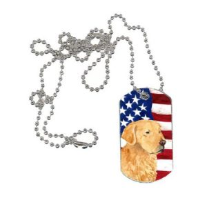 Carolines Treasures SS4055DT USA American Flag with Golden Retriever Dog Tag