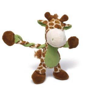 Charming Pet Pulleez Plush Squeaker Giraffe Dog Toy, Brown/Green, 11 Inch