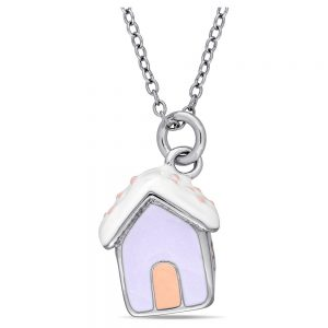 Children's Enameled Dog House Pendant Necklace in Sterling Silver - (14), Girl's, Multi-Colored