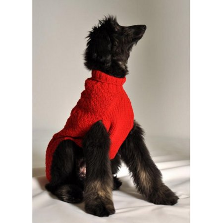 Chilly Dog Cable Knit Dog Sweater - XX-Small - Red
