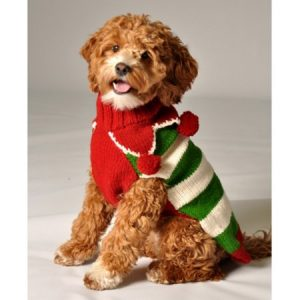 Chilly Dog Christmas Elf Dog Sweater - Red / Green