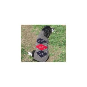 Chilly Dog Grey Classic Argyle Dog Sweater