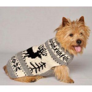 Chilly Dog Reindeer Shawl Dog Sweater - Cream / Gray