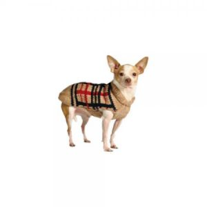 Chilly Dog Tan Plaid Dog Sweater, X-Large