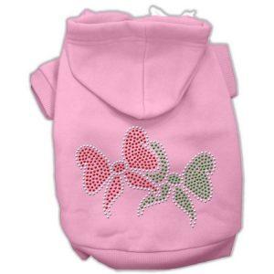 Christmas Bows Rhinestone Hoodie Pink XXL (18)
