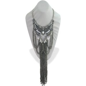 "Close-Fitting Light Silver OX Collar Statement Necklace with 10"" Drop of Hematite Seedbead Strands, 16"" with 3"" Extender"