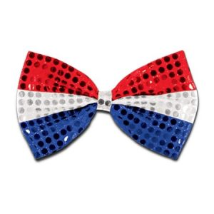 Club Pack of 12 Patriotic Red, Silver and Blue Glitz 'N Gleam Bow Tie Costume Accessories 7""