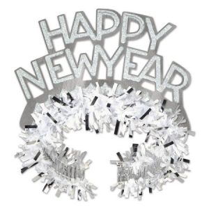 "Club Pack of 50 White and Silver Regal ""Happy New Years"" Legacy Party Favor Tiaras"