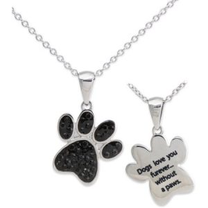 Connections from Hallmark Stainless Steel Dog's Paw Pendant, 18""