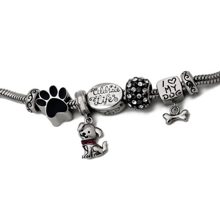 Connections from Hallmark Stainless Steel Limited Edition Dog Bracelet and Charm Pack