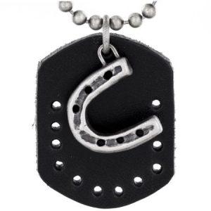 Crucible Antiqued Horseshoe and Leather Dog Tag Pendant Necklace