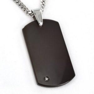 "Crucible Black-Plated Tungsten Carbide .0.01 Carat T.W. Diamond Dog Tag Pendant, 24"" Curb Chain"