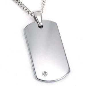 "Crucible High-Polish Tungsten Carbide 0.02 Carat T.W. Black Diamond Dog Tag Pendant, 24"" Curb Chain"
