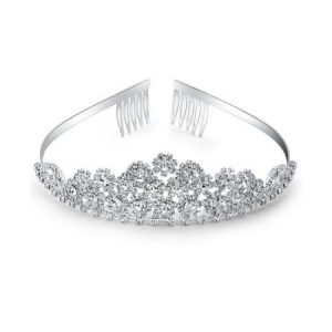 Crystal Glass Silver-Tone Tiara with Rhinestone Floral Clusters