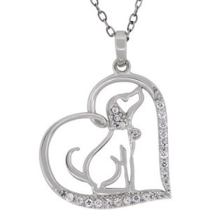 Cubic Zirconia Sterling Silver Open Heart Dog Pendant, 18""