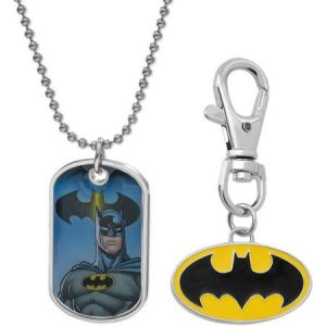 "DC Comics Batman Dog Tag Fashion Pendant with Keychain, 16"" Chain and 2"" Extender"