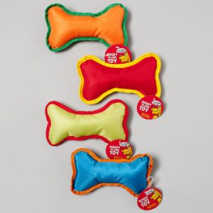DOG TOY 8 INCH CANVAS BONE WITH SQUEAKER 4 COLORS IN PDQ, Case Pack of 48