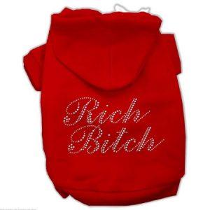 Dog Supplies Rich Bitch Rhinestone Hoodies Red S (10)